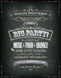 Retro Party Invitation On Chalkboard Royalty Free Stock Image