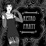 Retro party invitation design in 20's style stock illustration