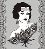 Woman retro style. Retro party invitation design with a flapper girl (20s style Stock Photo