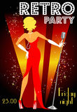 Retro party invitation design with sample text Royalty Free Stock Image