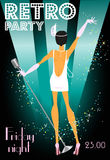 Retro party invitation design with sample text Royalty Free Stock Photography