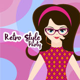 Retro party invitation in pink Royalty Free Stock Images