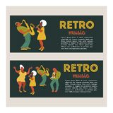 Retro party. Vector poster. Retro style illustration. Music and dance in retro style. Jazz musicians and dancers. Retro party. Jazz musicians playing trumpet vector illustration