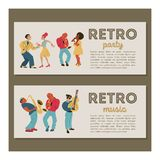 Retro party. Vector poster. Retro style illustration. Music and dance in retro style. Jazz musicians and dancers. Retro party. Jazz musicians playing trumpet royalty free illustration
