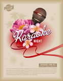 Retro party layout. Retro summer event poster or flyer with microphone and exotic flowers Royalty Free Stock Photo
