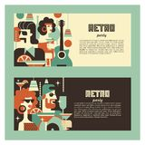 Retro party. Poster in the style of 60-70 years. Vector illustration in retro style-09. Retro party. Men and women fashionably dressed in style of 70-80 years vector illustration