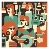 Retro party. Poster in the style of 60-70 years. Vector illustration in retro style-09. Retro party. Men and women fashionably dressed in style of 70-80 years stock illustration