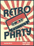 Retro party music poster design with vintage style Royalty Free Stock Image