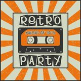 Retro party. Music of 80`s. Vintage advertising poster with a cassette. On a Sunburst background. Vector illustration royalty free illustration