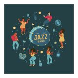Retro party. Vector poster. Retro style illustration. Music and dance in retro style. Jazz musicians and dancers. Retro party. People dance rock and roll stock illustration