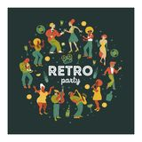 Основные RGB. Retro party. People dance rock and roll. Musicians play saxophone and trumpet. Jazz singer. A large set of characters in vector illustration