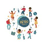 Retro party. Vector poster. Retro style illustration. Music and dance in retro style. Jazz musicians and dancers. Retro party. People dance rock and roll vector illustration