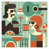 Retro- Party Plakat im Stil 60-70 Jahre Vektorillustration in Retro- style-09 jpg lizenzfreie abbildung