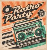 Retro party  poster design concept Stock Images
