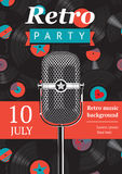 Retro party poster. Design template with a vintage microphone and vinyl records on the background vector illustration