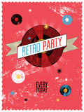Retro party poster design. Vector illustration. Stock Photography