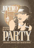 Retro party poster with old-fashioned smoking woma stock illustration