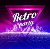 Retro party poster. 1980 style. Vector illustration. On gradient backgound Stock Photo