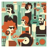 Retro party. Poster in the style of 60-70 years. Vector illustration in retro style-09. Retro party. Men and women fashionably dressed in style of 70-80 years royalty free illustration