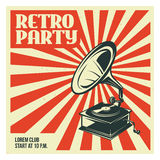 Retro party poster template with old gramophone. Vector vintage illustration. stock illustration