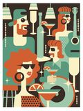 Retro party poster. Vector illustration in retro style. People dressed in the fashion of 60-70 years. Men and women in the bar with drinks. Musical instruments stock illustration