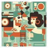 Retro party poster. Vector illustration in retro style. People dressed in the fashion of 60-70 years. Men and women in the bar with drinks. Musical instruments vector illustration