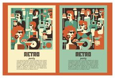 Retro party poster. Vector illustration in retro style. People dressed in the fashion of 60-70 years. Men and women in the bar with drinks. Musical instruments royalty free illustration