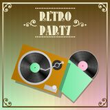 Retro party poster with vinyl recorder Stock Photos