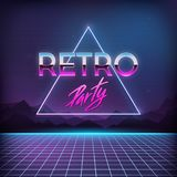 Retro Party 1980s. Digital landscape with space. Mountains and laser grid on terrain in cyber world. Retro futuristic background 80s style Stock Photo