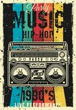Retro party 90s vector colored poster with boombox. Retro party 1990s vintage colored poster with boombox vector illustration. Layered, separate grunge texture vector illustration