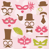 Retro Party set. Glasses, hats, lips, mustaches, masks - for design, photo booth, scrapbook in Royalty Free Stock Images