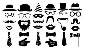 Retro party set. Glasses hats lips mustaches tie monocle icons. vector illustration. Retro party set. Glasses hats lips mustaches tie monocle icons. vector Royalty Free Stock Photo