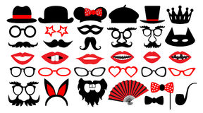 Retro party set. Party birthday photo booth props. Glasses hats  lips  mustaches  tie  monocle, icons. vector illustration Stock Photography