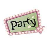 Retro party sign Stock Image