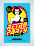 Retro Party Template, Banner or Flyer. Royalty Free Stock Photos