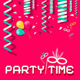 Retro Party Time Vector Flat Design Illustration Stock Image