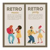 Retro party. Vector poster. Retro style illustration. Music and dance in retro style. Jazz musicians and dancers. Retro party. Jazz musicians playing trumpet stock illustration
