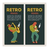 Retro party. Vector poster. Retro style illustration. Music and dance in retro style. Jazz musicians and dancers. Retro party. Jazz musicians playing the royalty free illustration