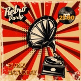 Retro party vintage poster template. Design element for flyer Royalty Free Stock Photos