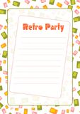 Retro- Partyeinladung Stockbild