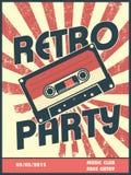 Retro partyjny muzyczny plakatowy projekt z rocznika stylem ilustracji
