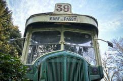 Retro passenger bus 1. Retro passenger bus parked, front top view Stock Image