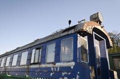 Retro passenger train car. Antique train exterior Royalty Free Stock Image