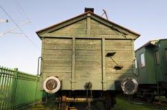 Retro passenger train car. Antique train exterior Stock Image