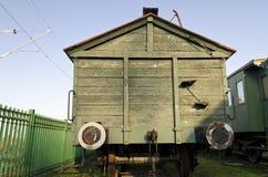Retro passenger train car. Antique train exterior Stock Photos