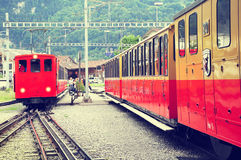 Retro passenger trains stan after arrival from Schynige Platte. Stock Image