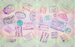 Retro Passport Stamps. Retro Vintage Stamps In A European Passport From Multiple Locations Royalty Free Stock Photography