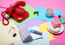 Retro and pastel colorful office desk Royalty Free Stock Images