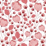 Retro pastel pink floral seamless pattern Stock Photography