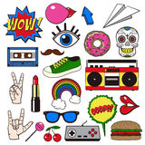 Retro patch badges set. Collection of cartoon icons, stickers and stripes in vintage comic style. Vector EPS8 illustration Royalty Free Stock Photos